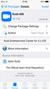 Install Kodi on iOS using Cydia