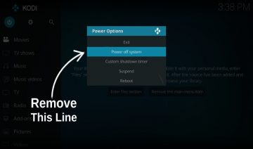 Remove power off system from Kodi estuary skin